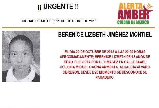 Alerta Ámber: para localizar a Berenice Lizbeth Jiménez Montiel