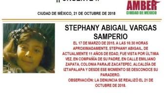 Alerta Ámber: Ayuda para localizar a Stephany Abigail Vargas Samperio