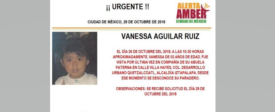 Alerta Amber para localizar a Vanessa Aguilar Ruiz