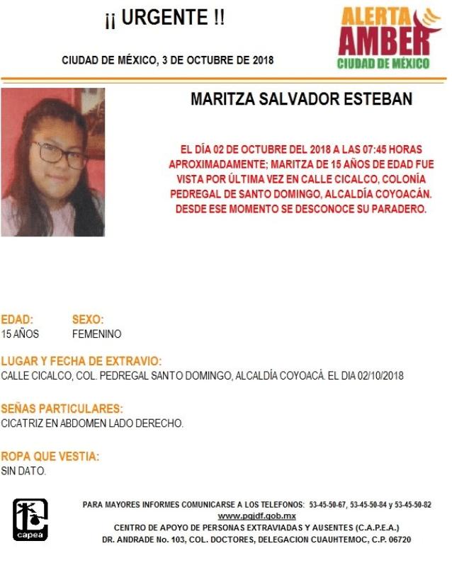 Alerta Amber para Maritza Salvador Esteban. (@PGJDF_CDMX)