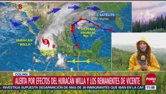 Alerta por huracán Willa y remanentes de tormenta Vicente