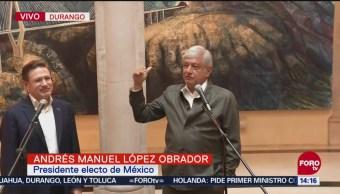 AMLO habla sobre plan de austeridad el gobernador de Durango