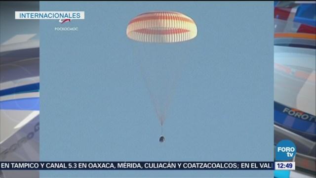 Aterriza en Kazajistán la nave Soyuz MS-08 con tres astronautas a bordo
