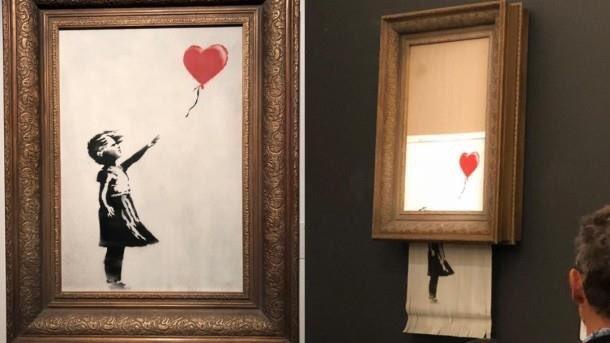 Obra de Banksy se autodestruye tras subastarse en cifra récord