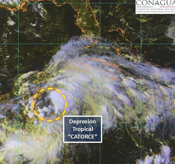 Campeche activa Alerta Azul por depresión tropical 14