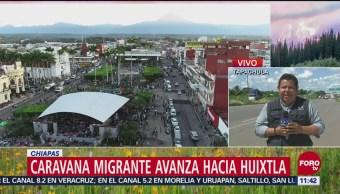 Caravana migrante avanza hacia Huixtla desde Tapachula
