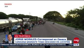 Caravana Migrante llega a Juchitán, Oaxaca