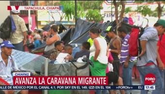 Caravana migrante llega al municipio de Huixtla