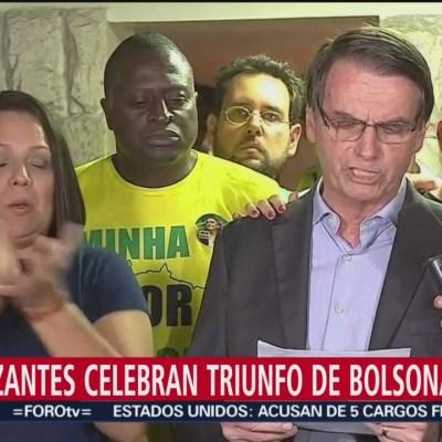 Celebran en Brasil triunfo de Bolsonaro