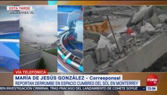 Cuerpos de emergencia atienden derrumbe de barda en Monterrey