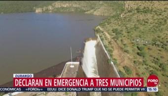 Declaran en emergencia a tres municipios Durango por lluvias