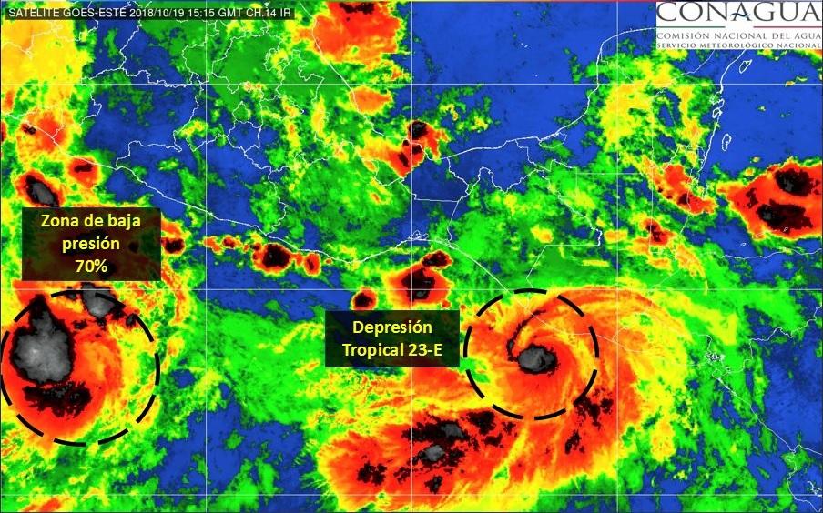 Depresión tropical 23-E provocará lluvia en Chiapas y Oaxaca