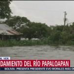 Desborda el río Papaloapan, en Veracruz
