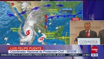 Emiten alerta por huracán 'Willa' y tormenta 'Vicente'