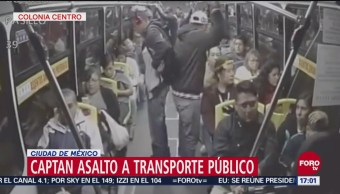 Graban en video asalto a transporte público