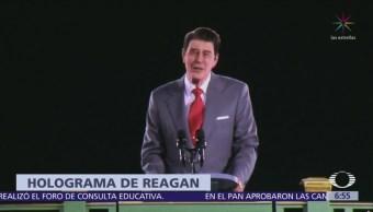 Instalan holograma del expresidente de EU, Ronald Reagan