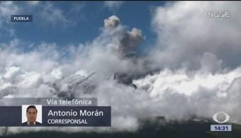 Intensa actividad del volcán Popocatépetl