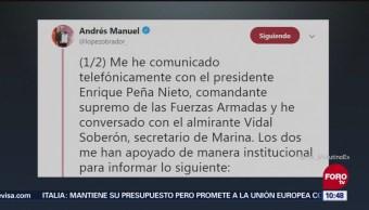 José Rafael Ojeda Durán, nuevo secretario de la Marina, anuncia AMLO