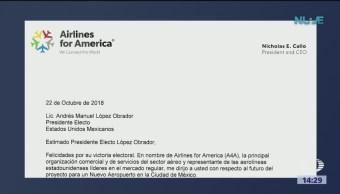 Airlines for America envía comunicado a AMLO