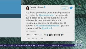 López Obrador goza de buena salud, dice Yeidckol Polevnsky