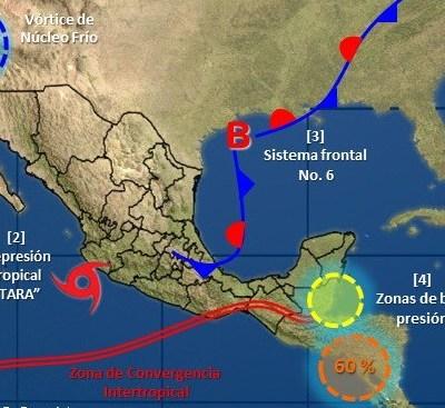 Zona de baja presión provoca lluvias en Q. Roo