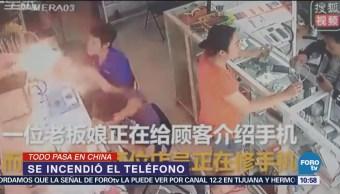 Todo pasa en China Se incendia teléfono celular