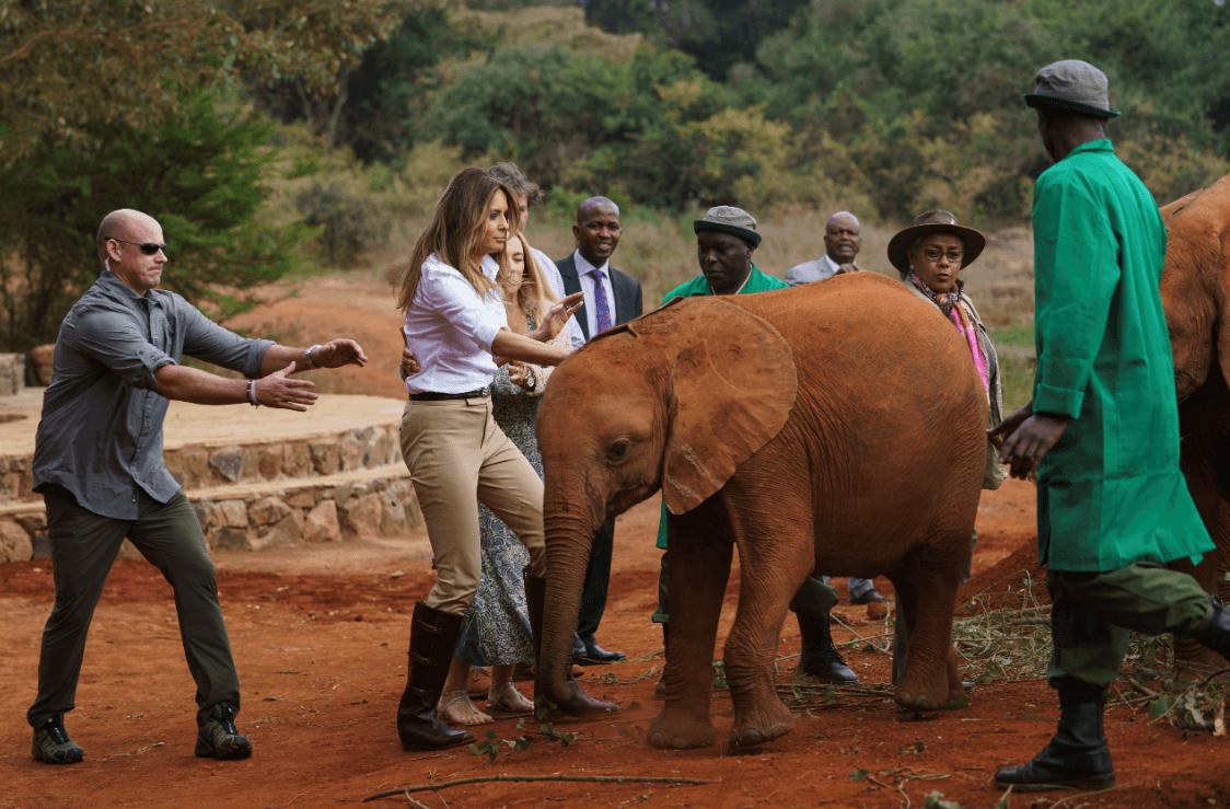 Melania fue empujada por un pequeño elefante. (AP)