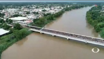 Migrantes Hondureños Cruzan Frontera México Guatemala