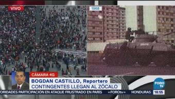 Mitin continúa en la Plaza de la Constitución
