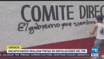 Encapuchados Hacen Pintas Edificio PRI Oaxaca