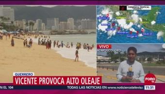 Oleaje Elevado Costa De Guerrero Tormenta Tropical Vicente