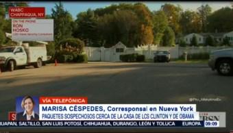 Paquetes sospechosos cerca de casas de los Clinton y Obama