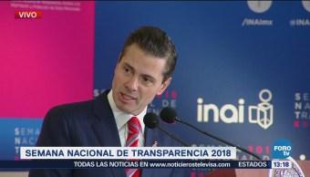Peña Nieto participa en la Semana Nacional de Transparencia
