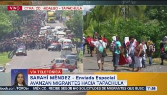 Policía Federal Resguarda Caravana Migrante Ciudad Hidalgo, Chiapas