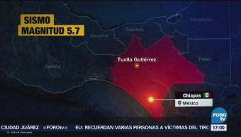 Reportan sismo de magnitud preliminar 5.7 en Chiapas