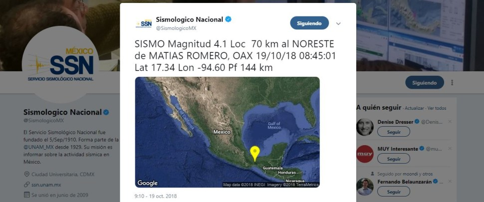 Se registra sismo de magnitud 4.1