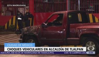 Se registran choques vehiculares en alcaldía de Tlalpan, CDMX