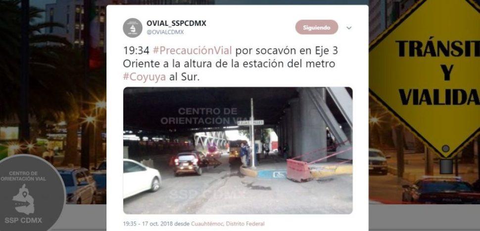 Socavón en Coyuya no representa riesgo