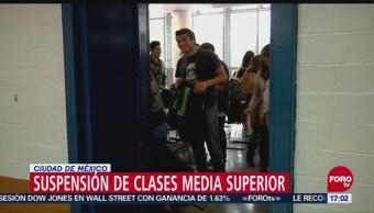 Suspenden clases de educación media superior