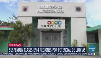 Suspenden clases en cuatro regiones de Chiapas por lluvias