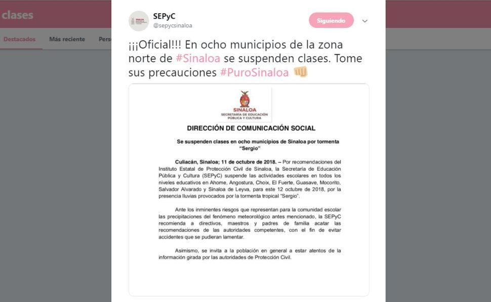 Suspenden clases en Sinaloa por entrada de 'Sergio