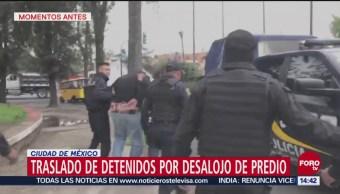 Trasladan a detenidos luego de desalojo de predio en Tláhuac
