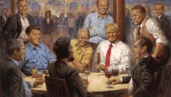 Trump cuelga cuadro donde aparece con personajes como Nixon