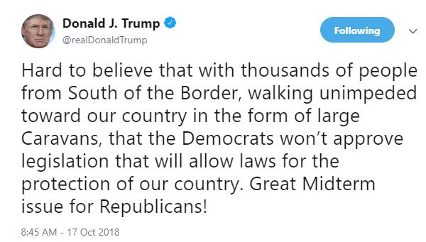 Trump: Protección fronteriza será tema primordial en legislativas