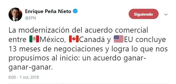 Tuit de Enrique Peña Nieto sobre USMCA