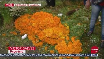 Venta De Flores Día De Muertos Cdmx Mercado De Jamaica, Ciudad De México