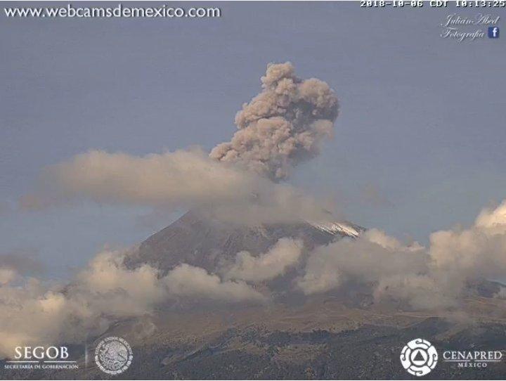 Volcán Popocatépetl registra 67 exhalaciones en últimas horas