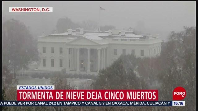 Tormenta de nieve deja cinco muertos en EU