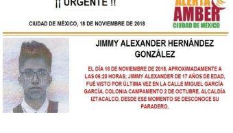 Alerta Amber: buscan a Jimmy Alexander Hernández González