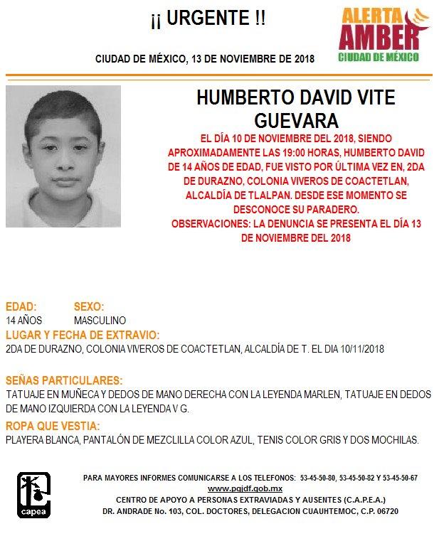 Alerta Amber Humberto David Vite Guevara